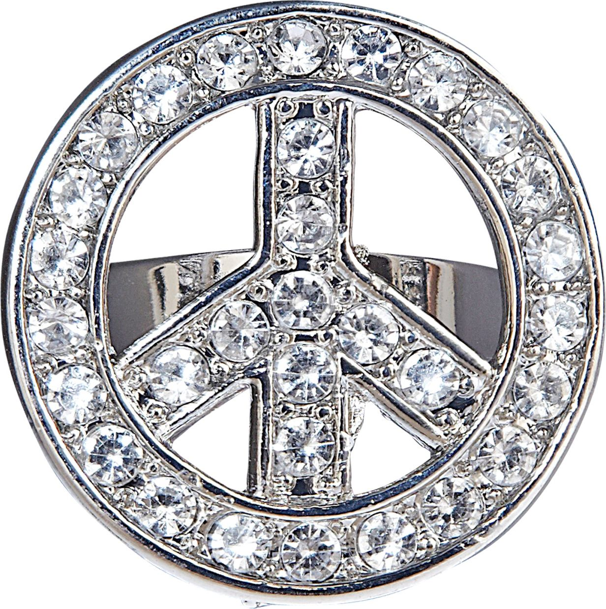 Hippie ring zilver peace