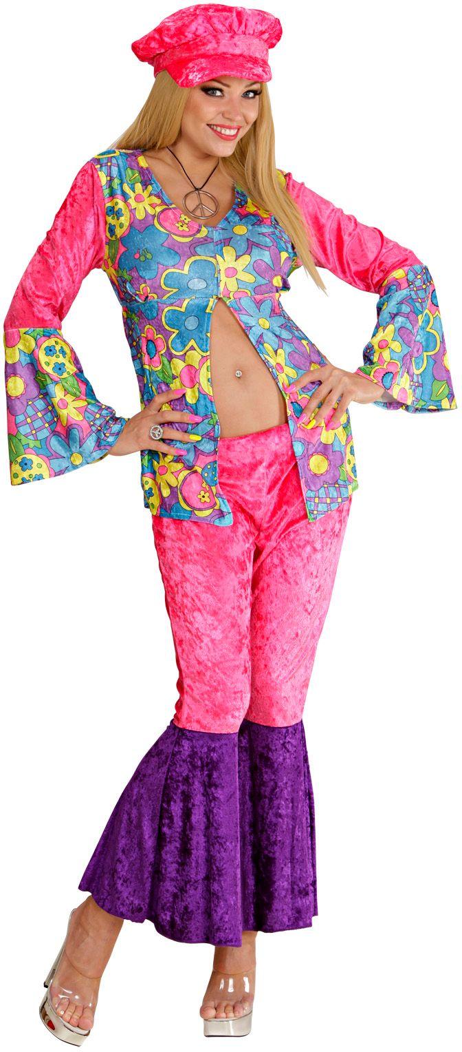 Hippie vrouw fluweel roze