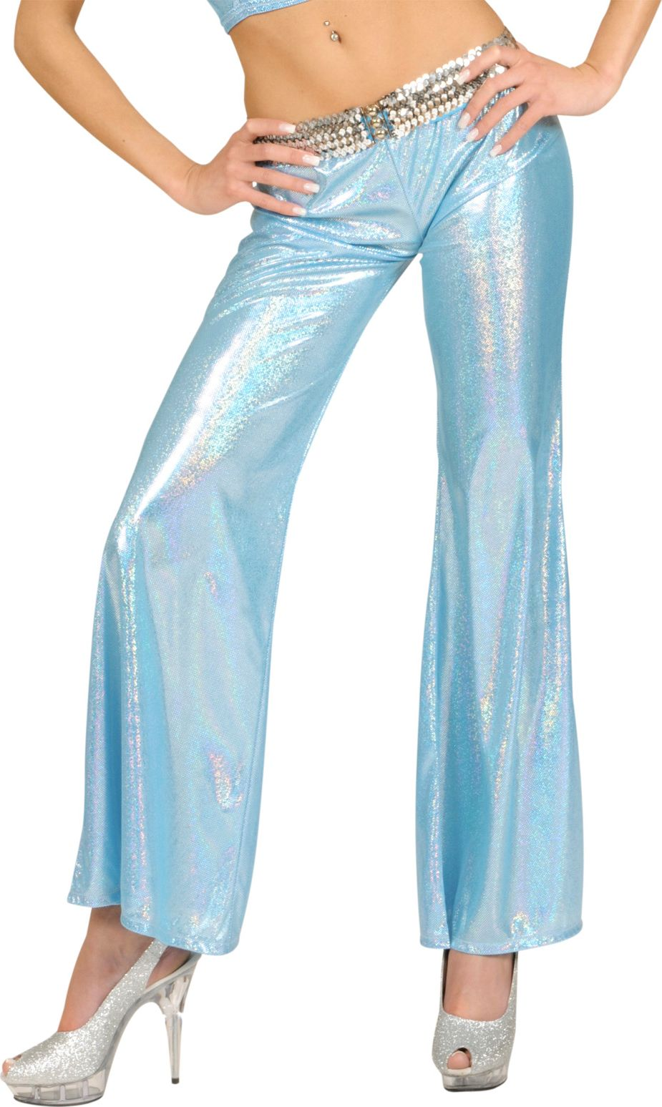 Holografische blauwe broek