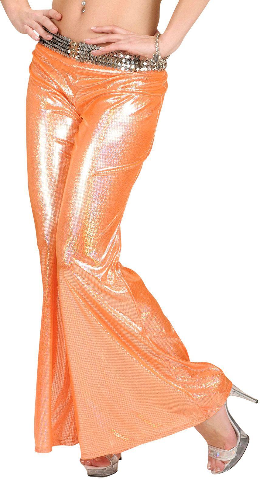 Holografische oranje broek