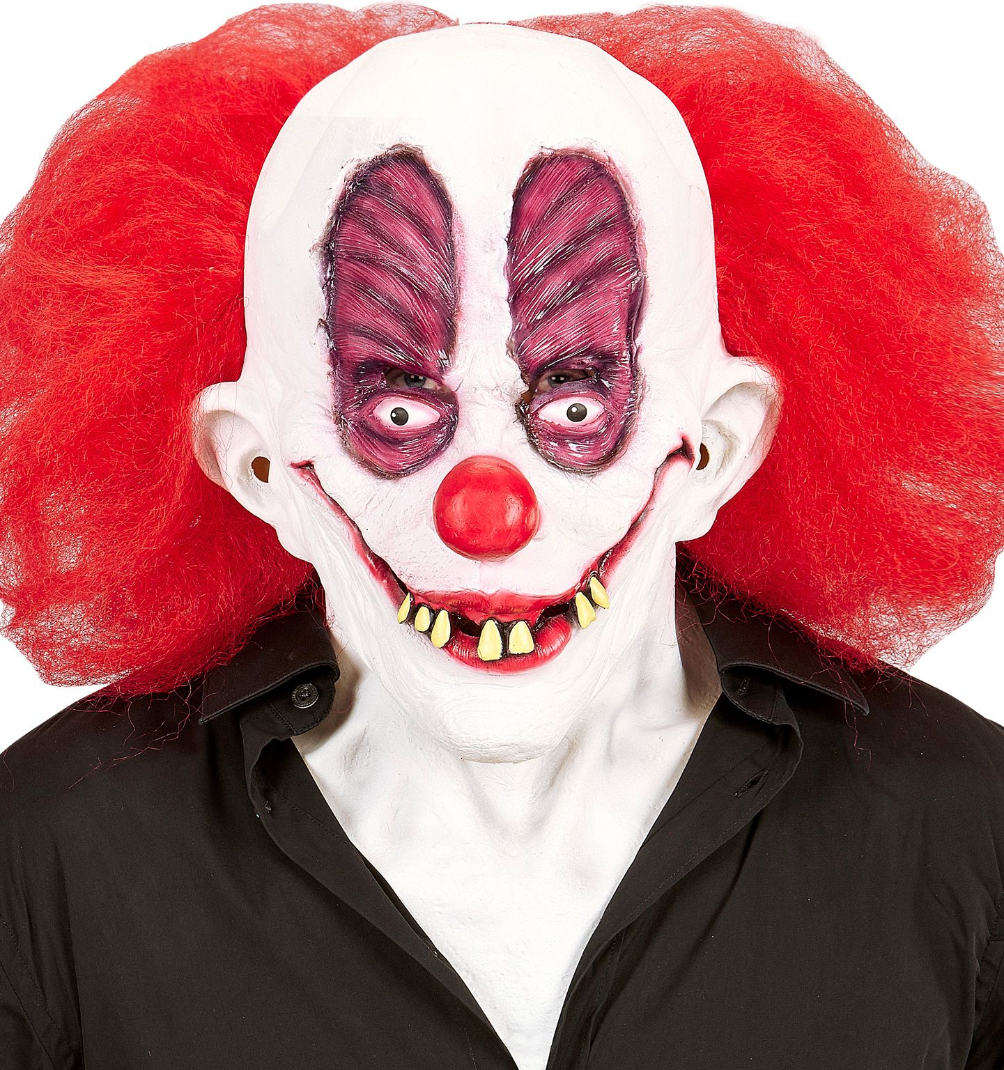 Horror clown masker met rode pruik