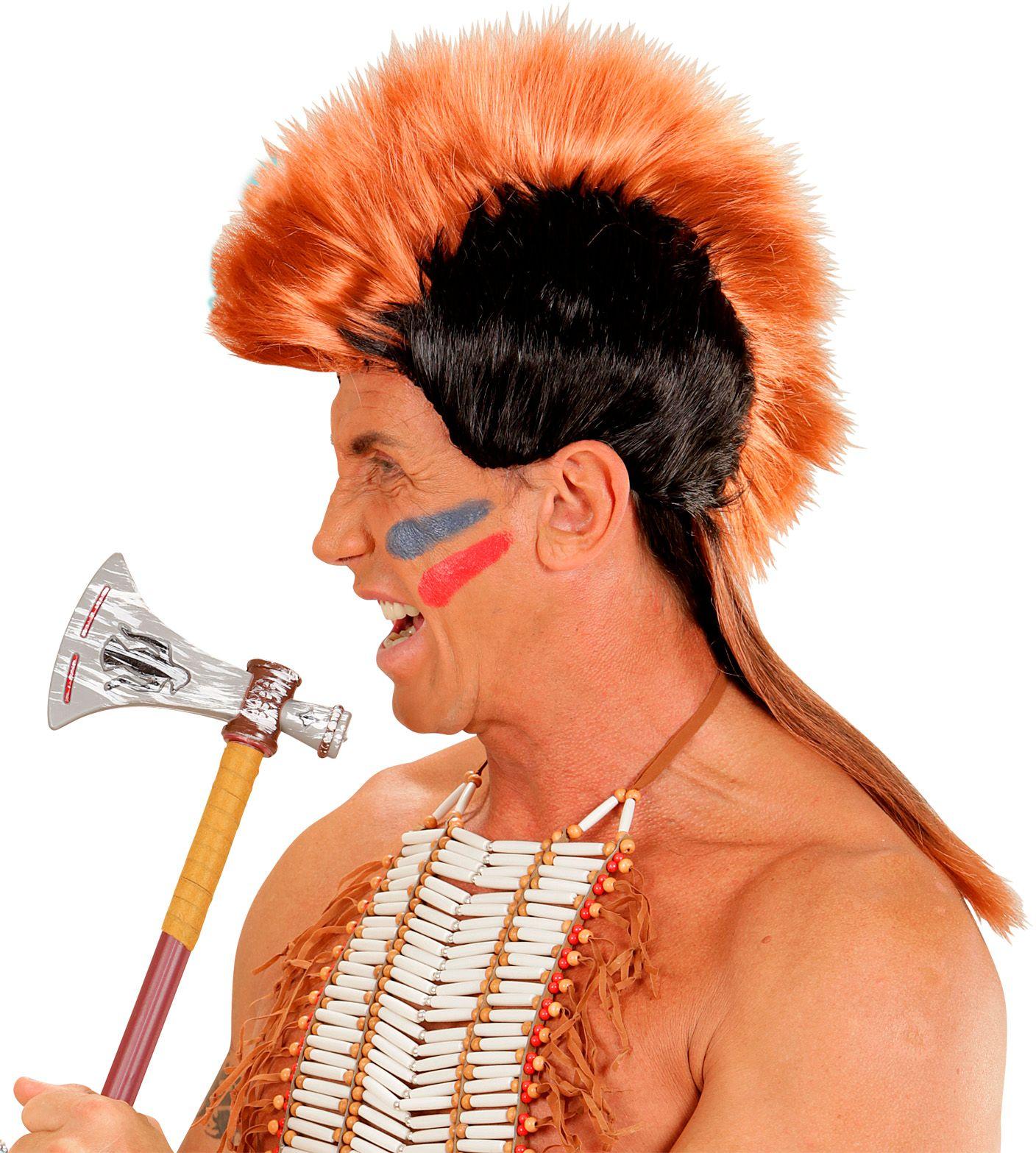 Indianen hanenkam pruik