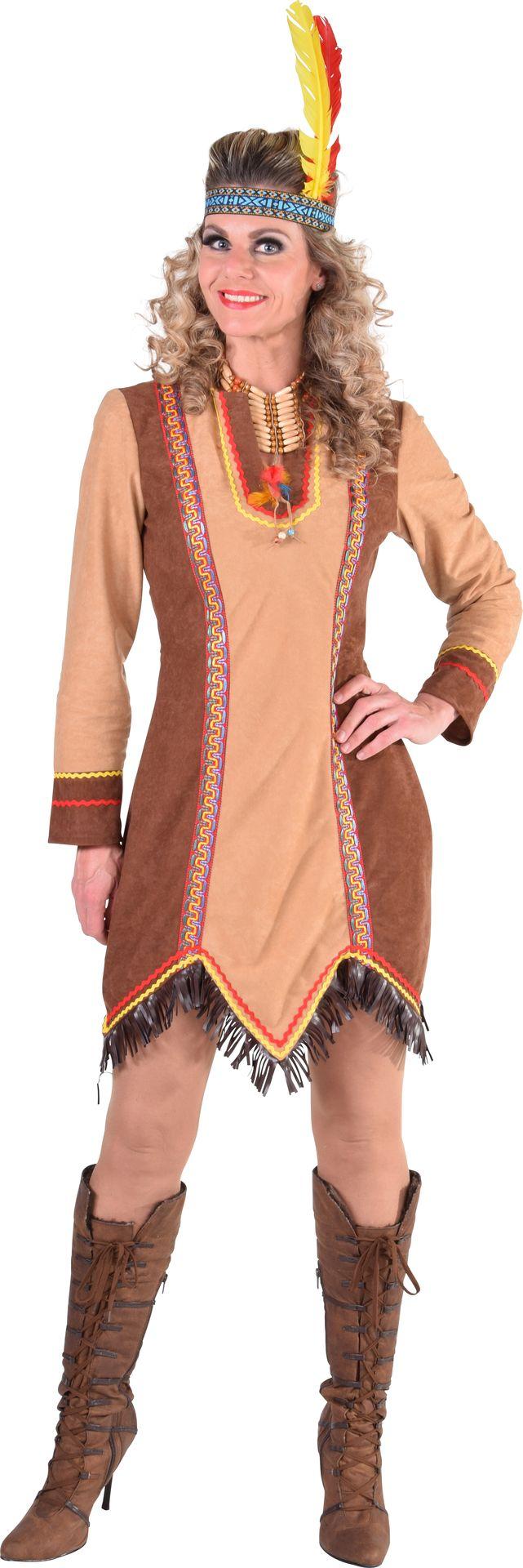 Indianen jurk lange mouw dames