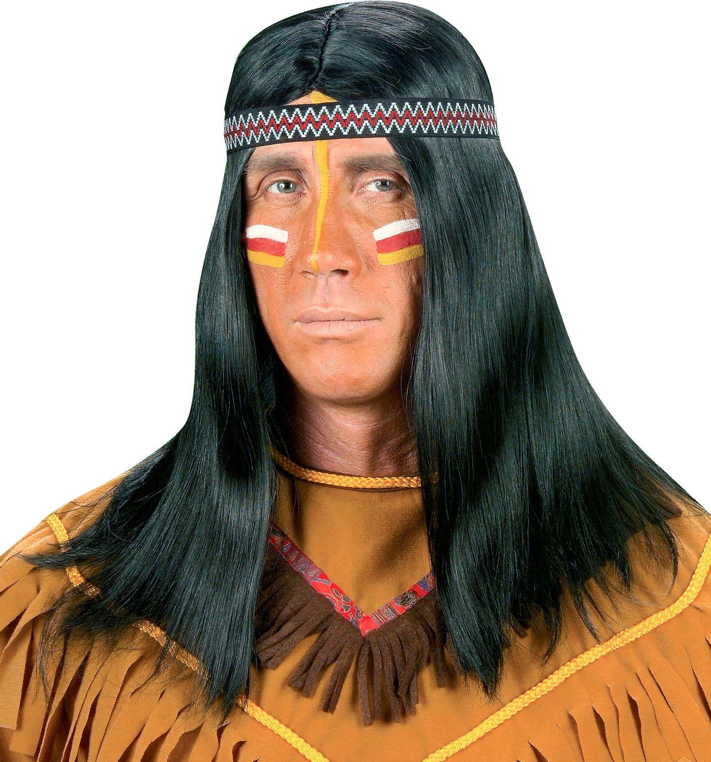 Indianen pruik met hoofdband