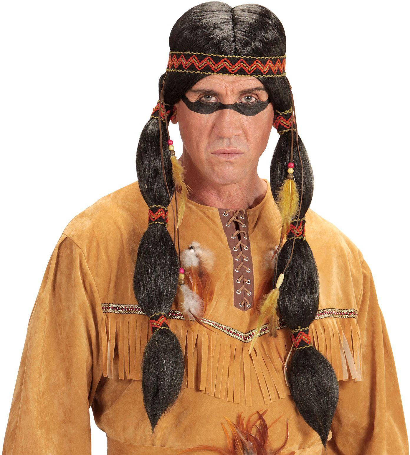 Indianen pruik met staartjes en hoofdband