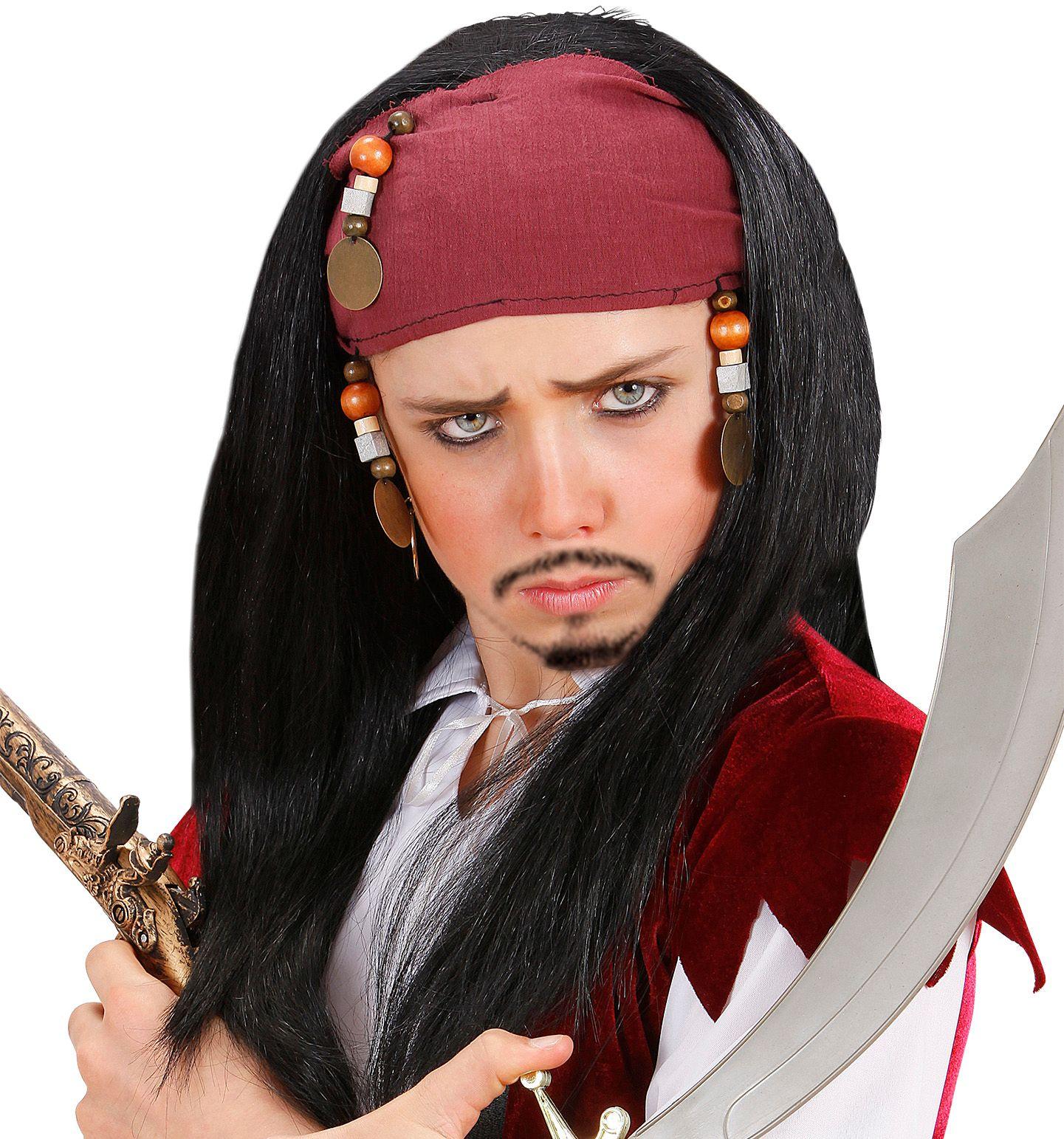 Jack Sparrow pruik met bandana kind