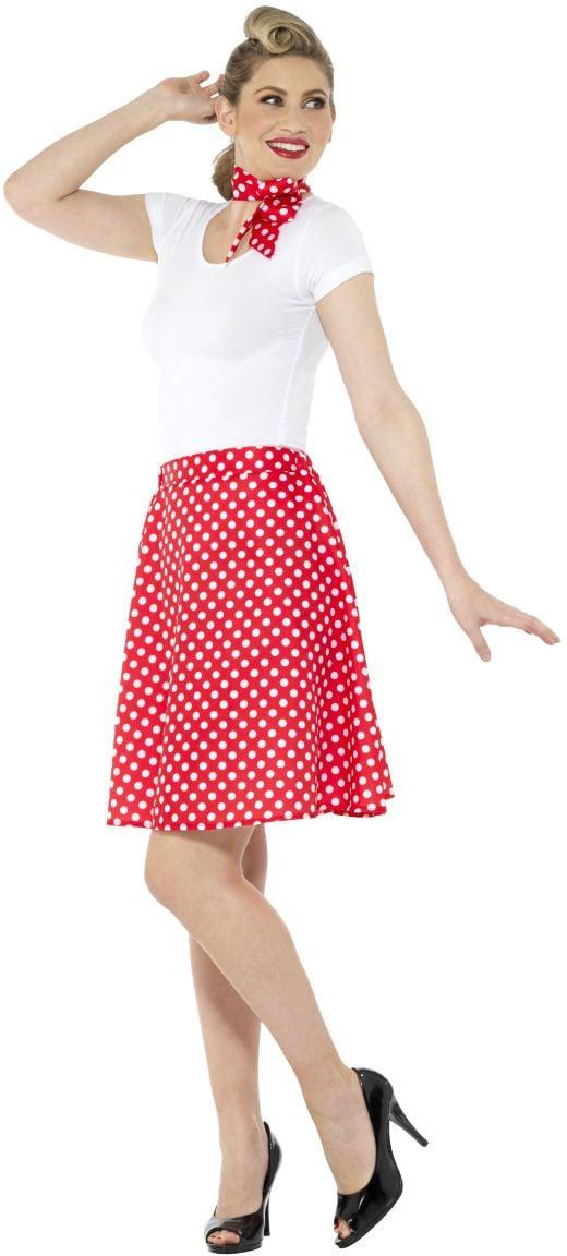 Jaren 50 polka dot rok rood