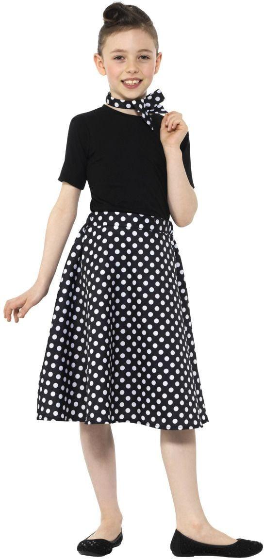 Jaren 50 zwarte polka dot rok