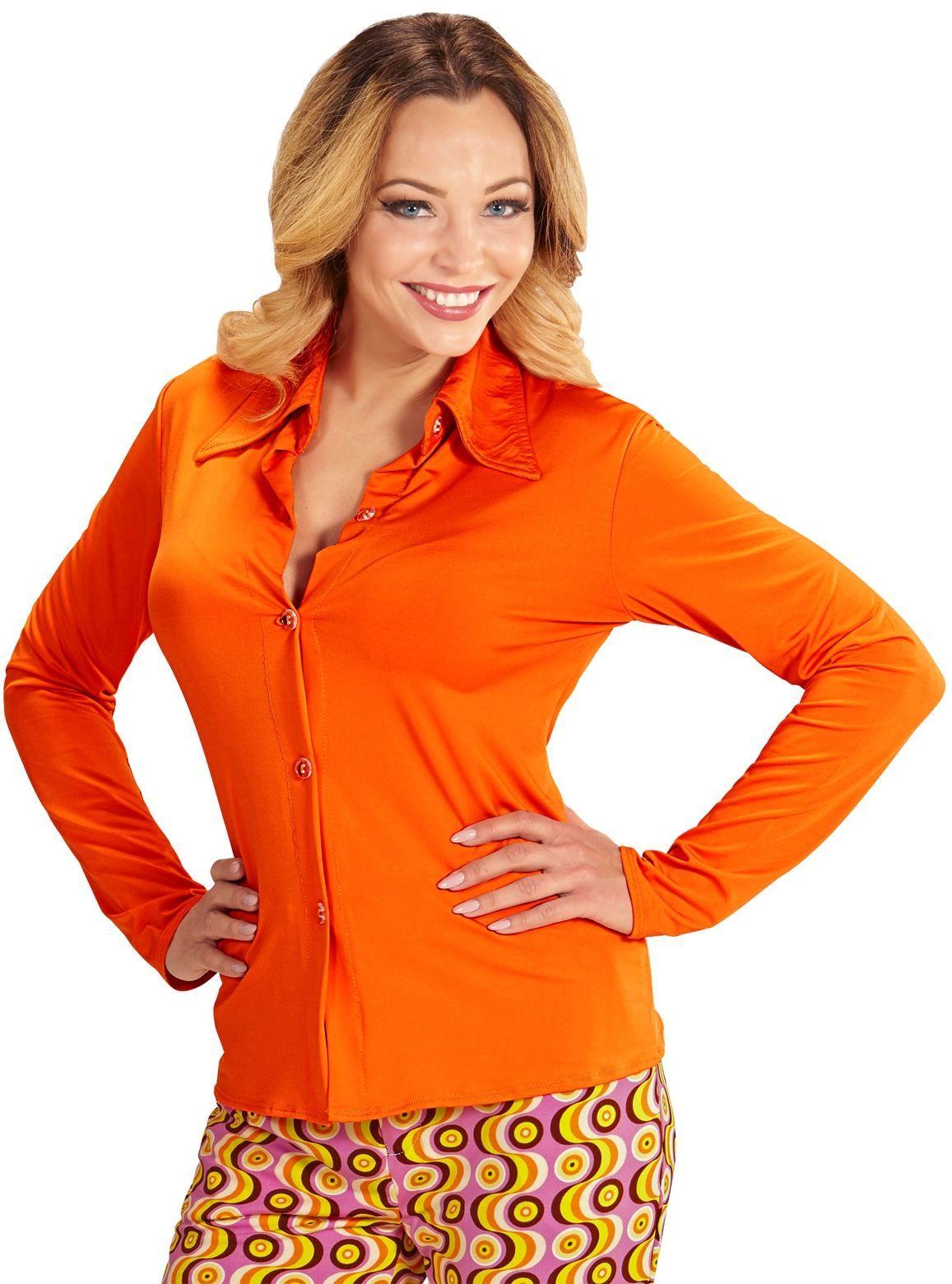 Jaren 70 blouse dames oranje