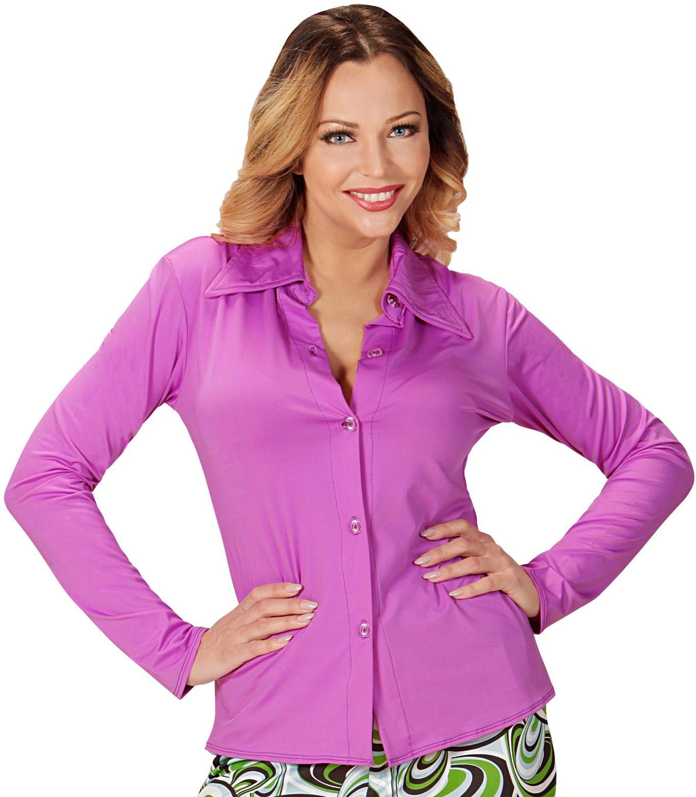 Jaren 70 blouse dames paars