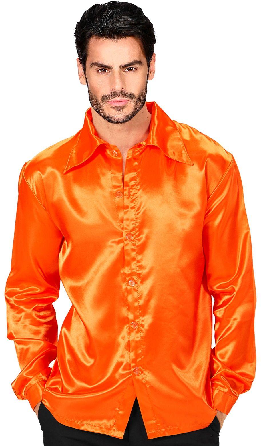 Jaren 70 disco shirt oranje