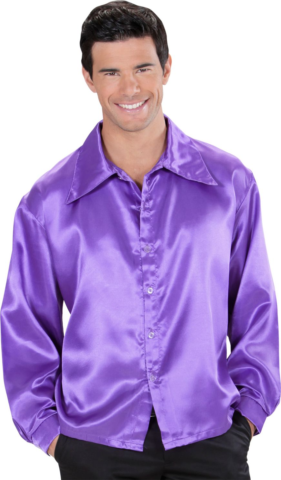 Jaren 70 disco shirt, paars