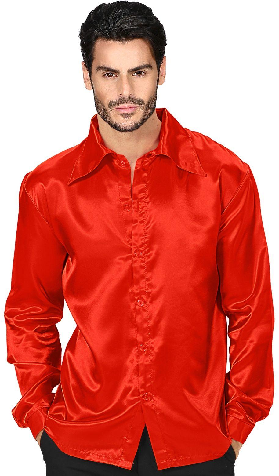 Jaren 70 disco shirt, rood