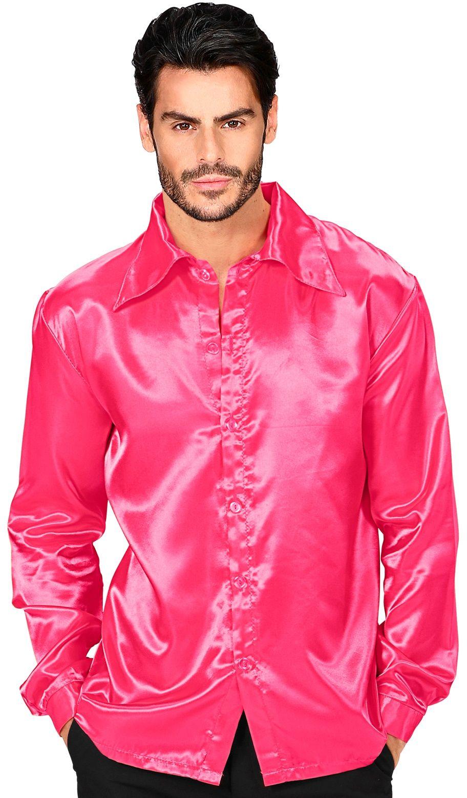 Jaren 70 disco shirt, roze