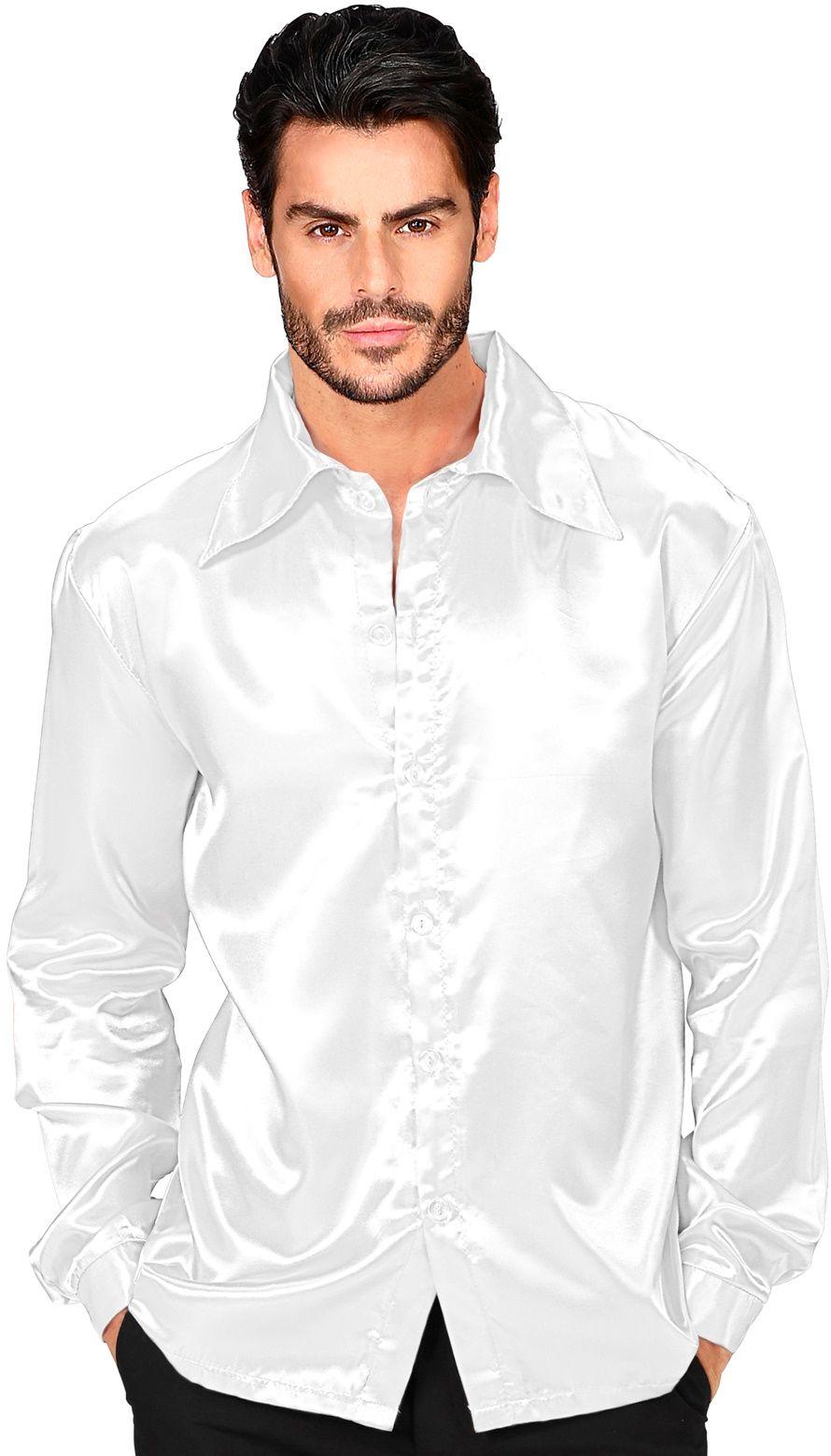 Jaren 70 disco shirt wit