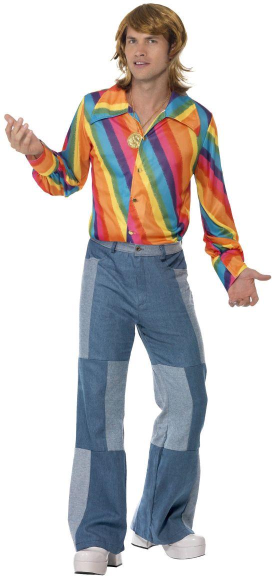Jaren 70 kleurig mannen shirt