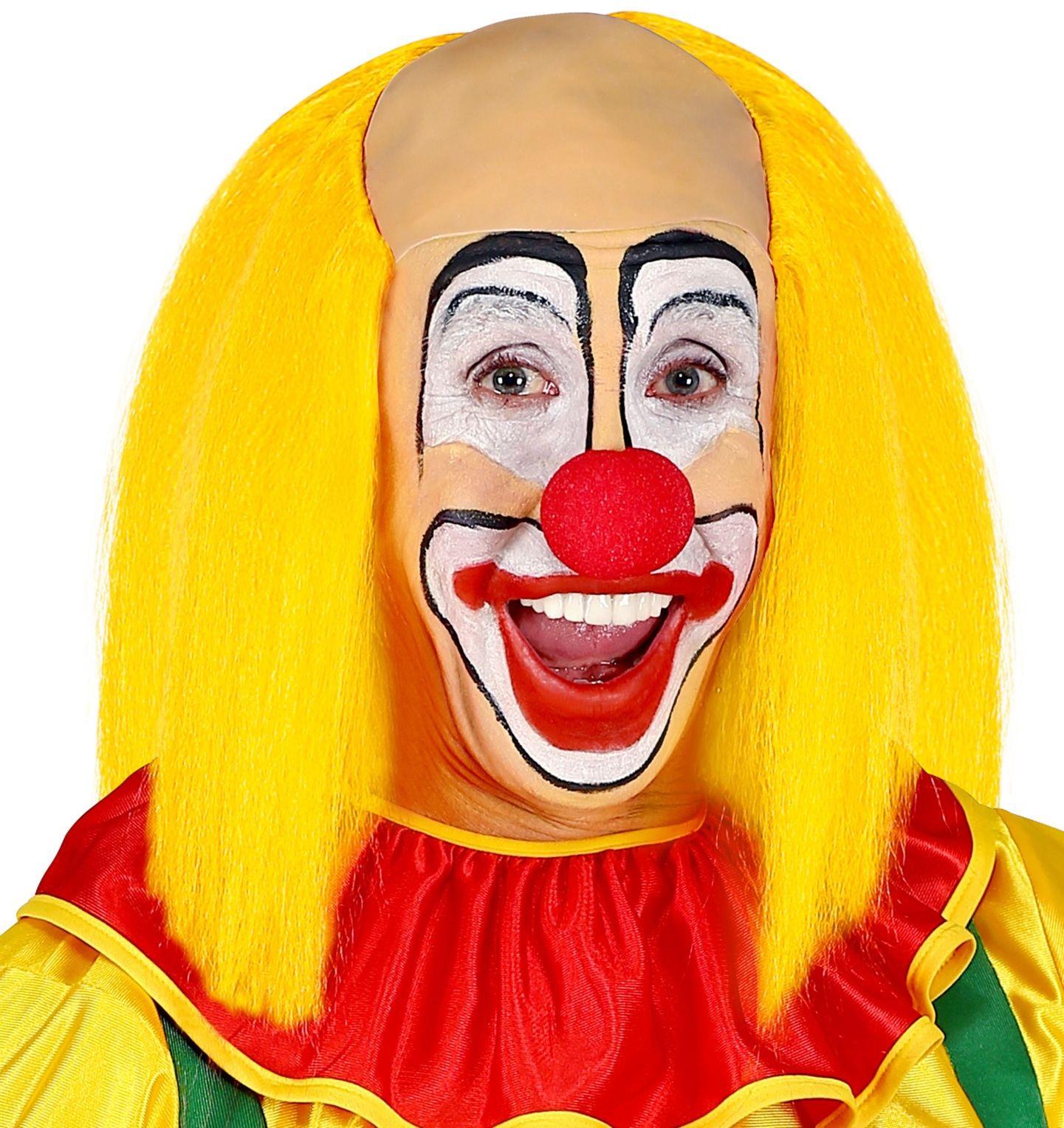 Kale clown pruik met geel haar