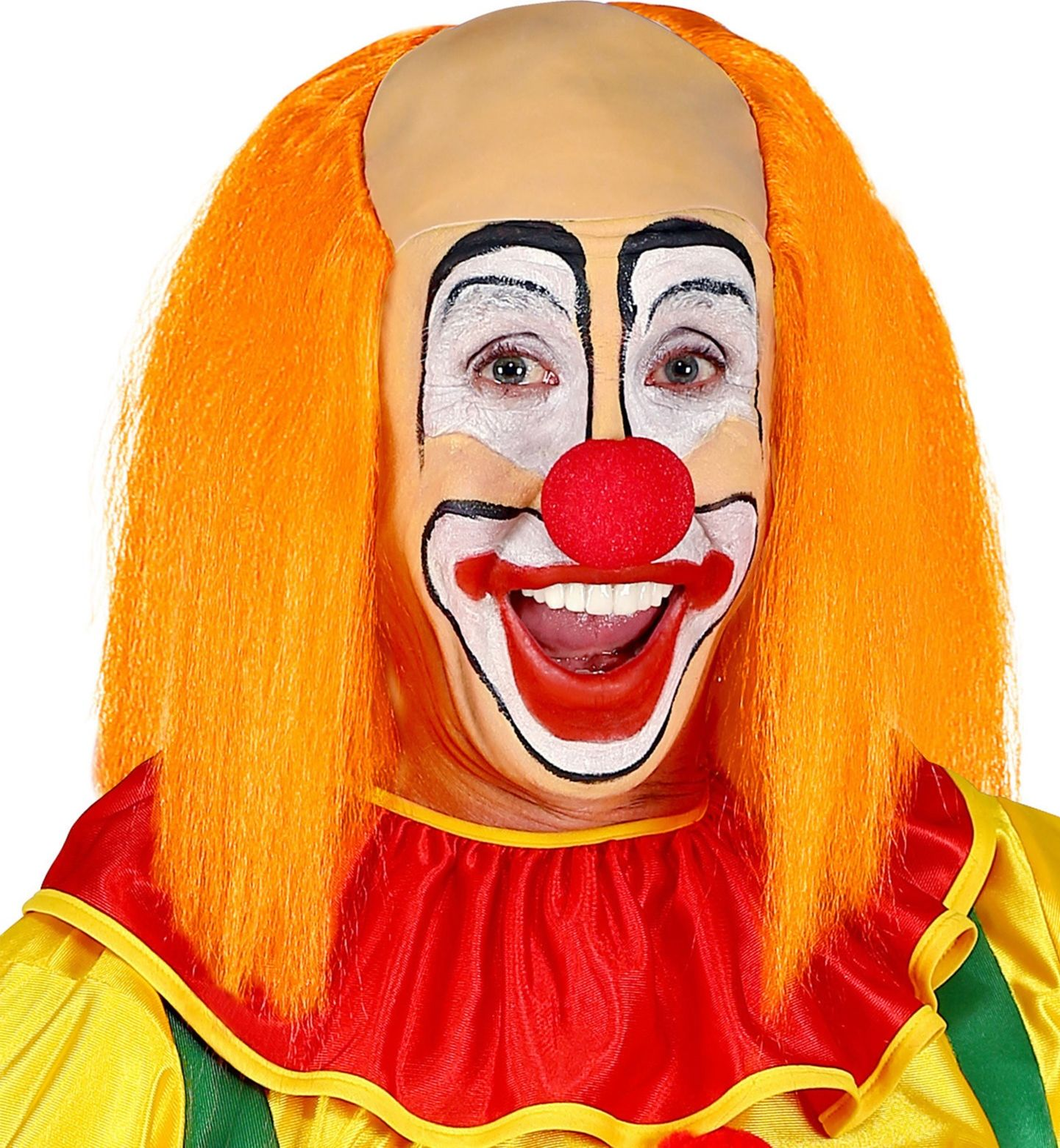 Kale clown pruik met oranje haar