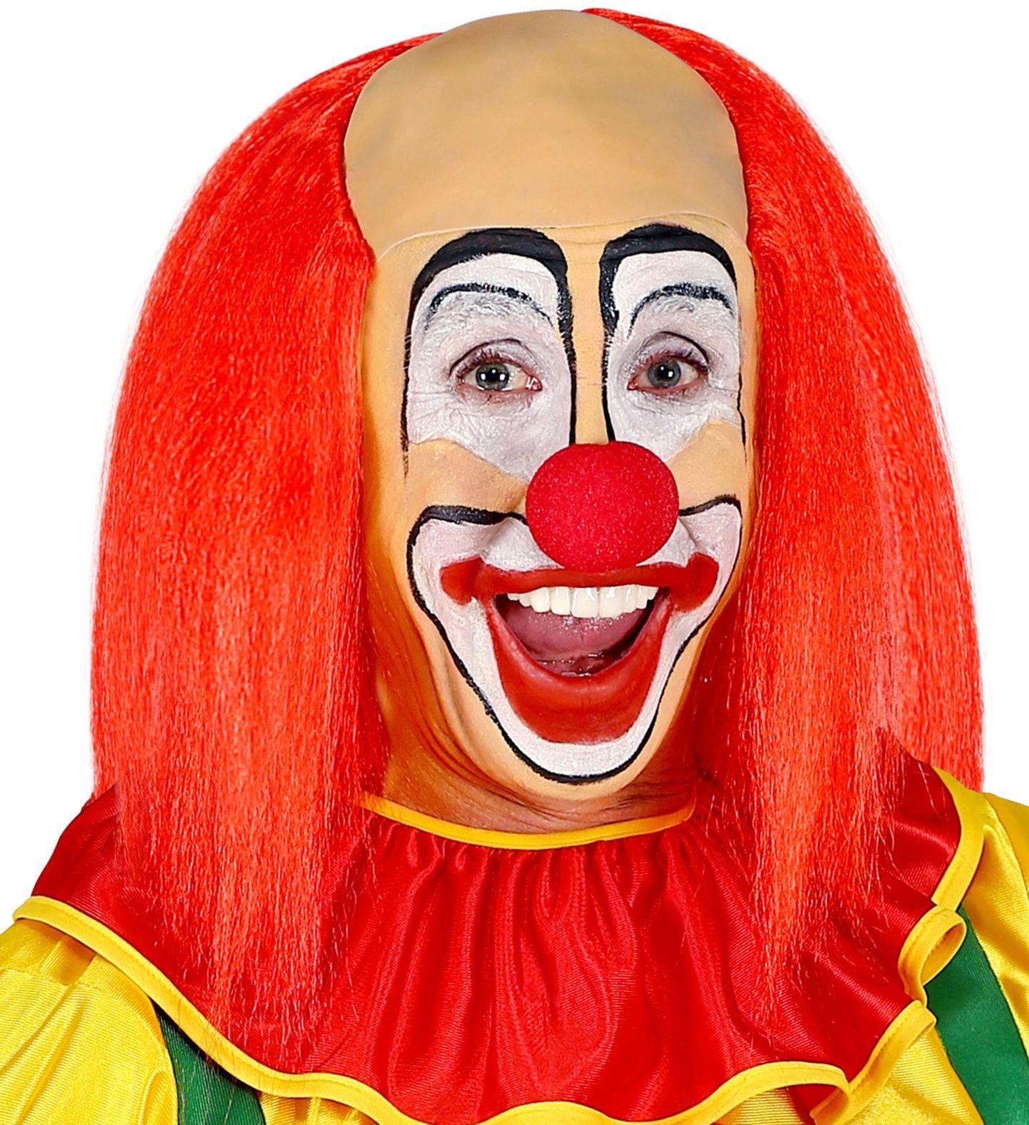 Kale clown pruik met rood haar