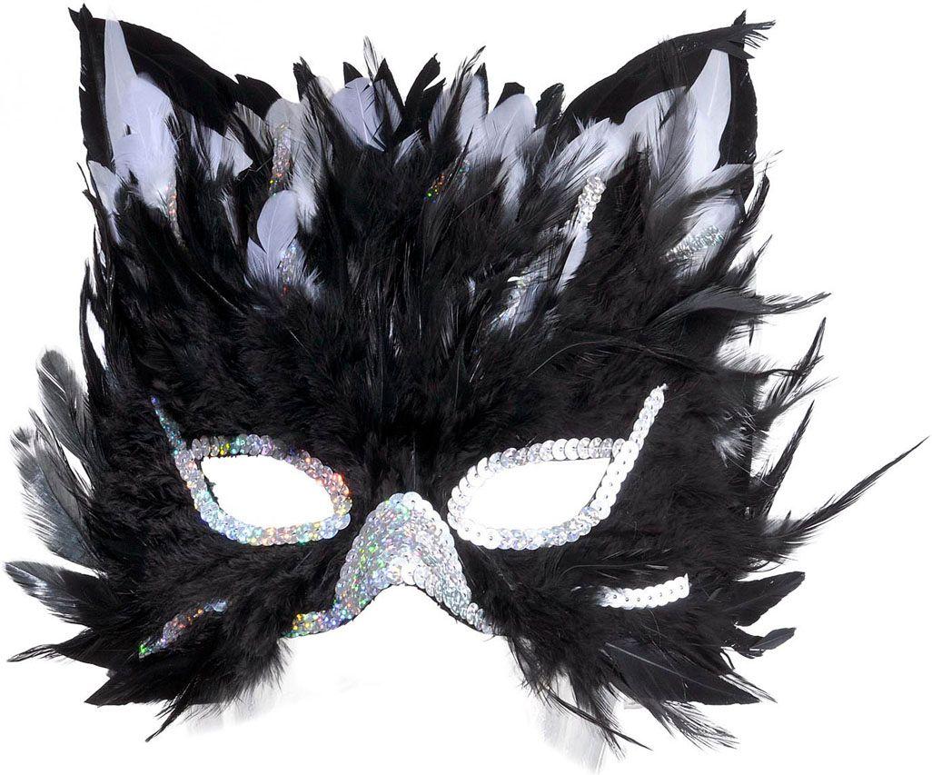 Katten oogmasker met veren
