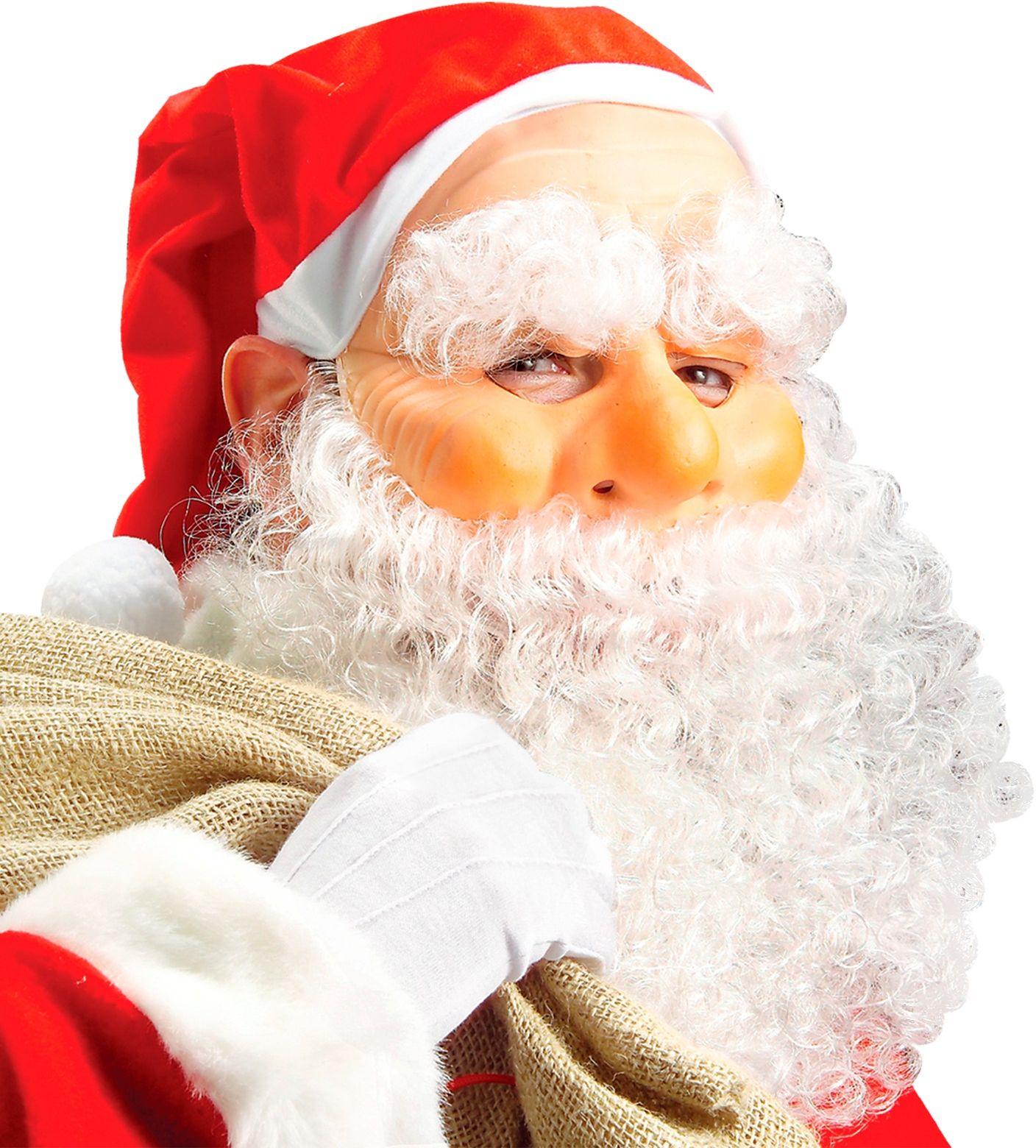 Kerstman masker met muts, baard, snor en wenkbrauwen