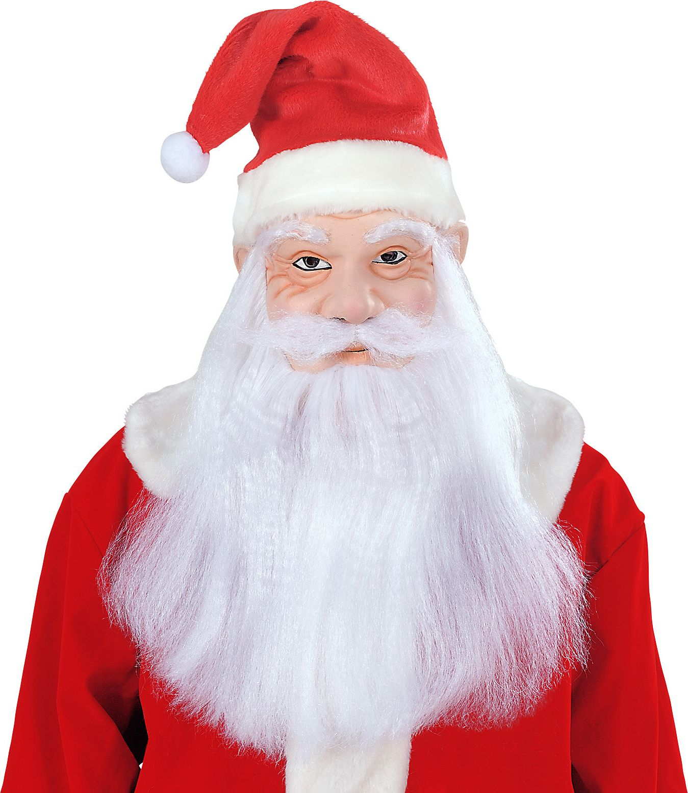 Kerstman masker met muts, pruik, baard en snor