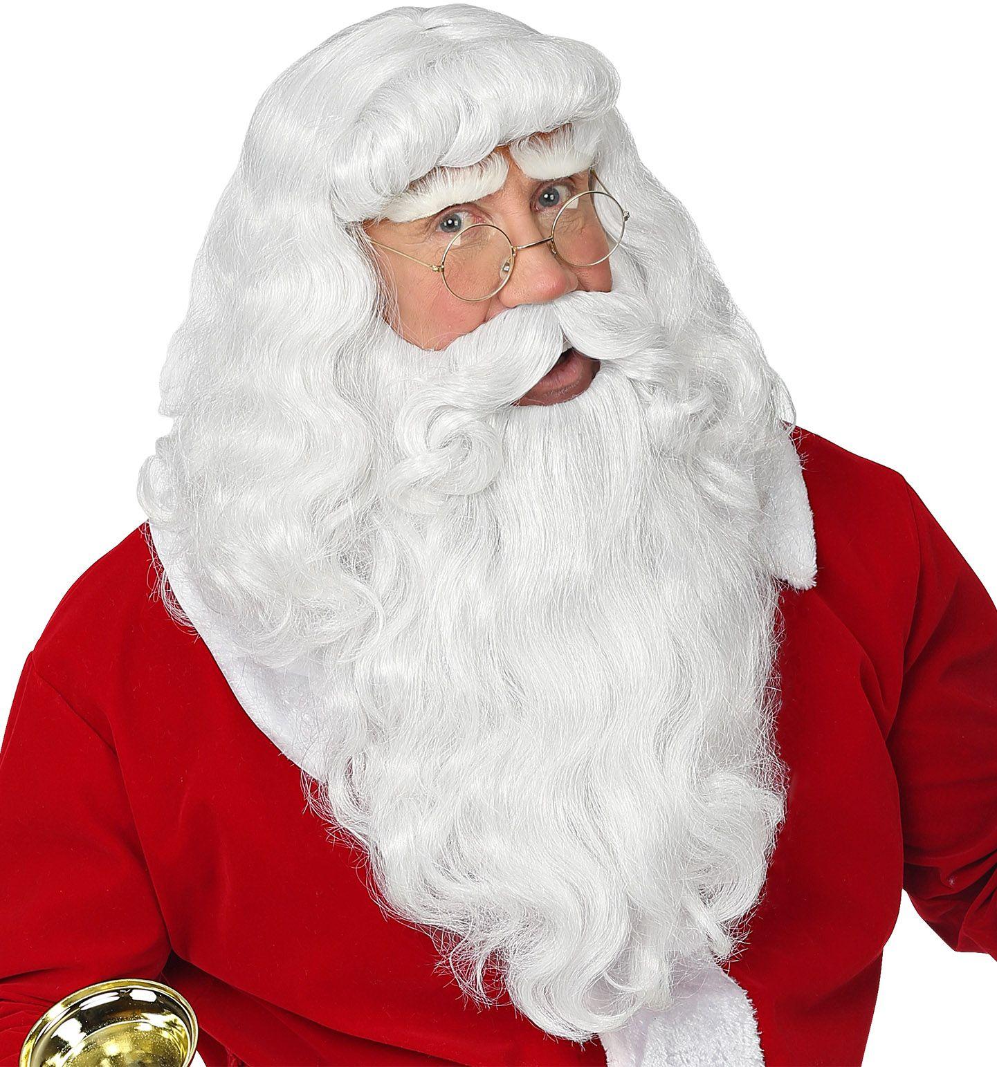 Kerstman pruik mannen wit