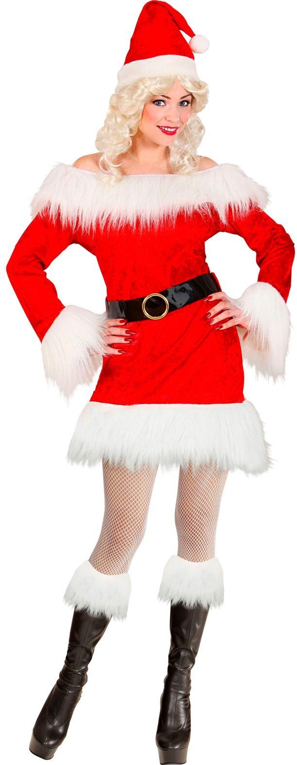 Kerstvrouw fluweel pluche kostuum