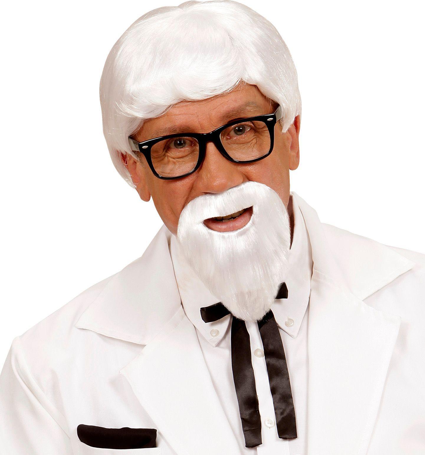 KFC directeur witte pruik en baard