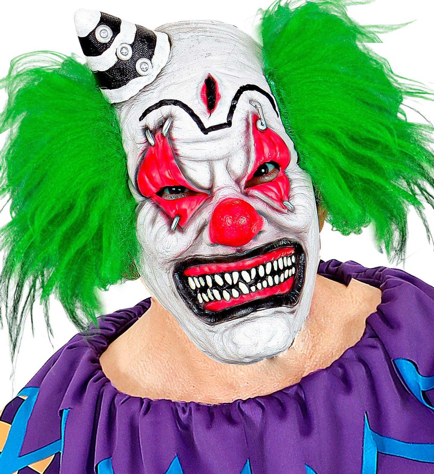 Killer clown masker met hoedje en haar