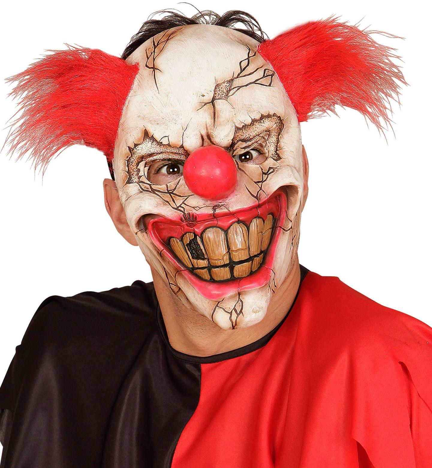Killer clown masker met rood haar