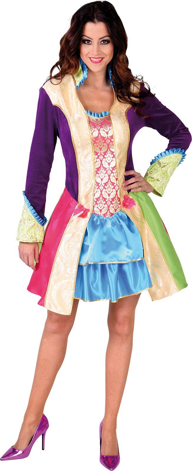 Kleurige carnavals jurk dames