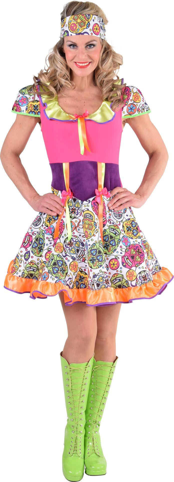 Kleurige Dia de los Muertos jurk dames