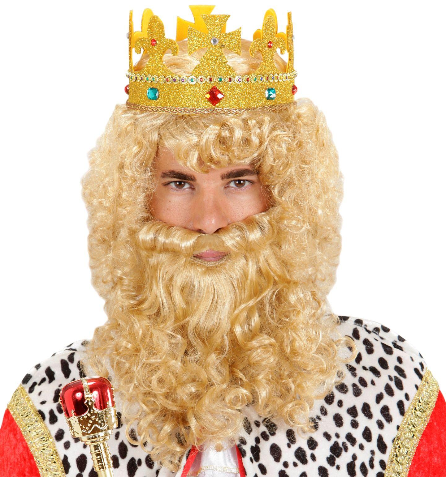 Koning pruik met baard en snor