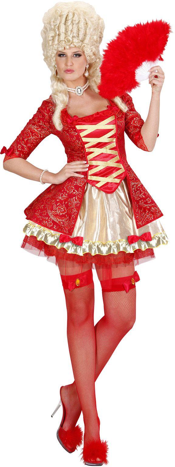 Koningin Barok kostuum rood
