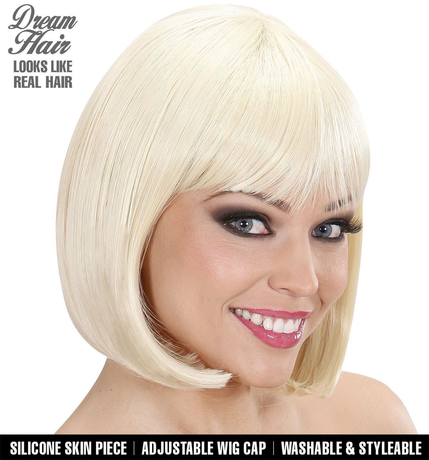 Korte blonde pruik stijl