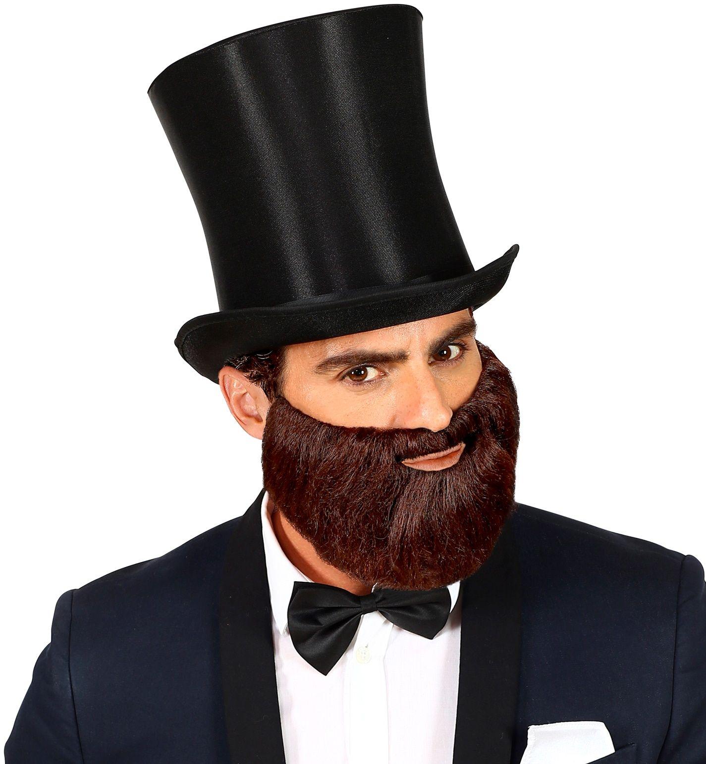 Korte bruine baard met snor