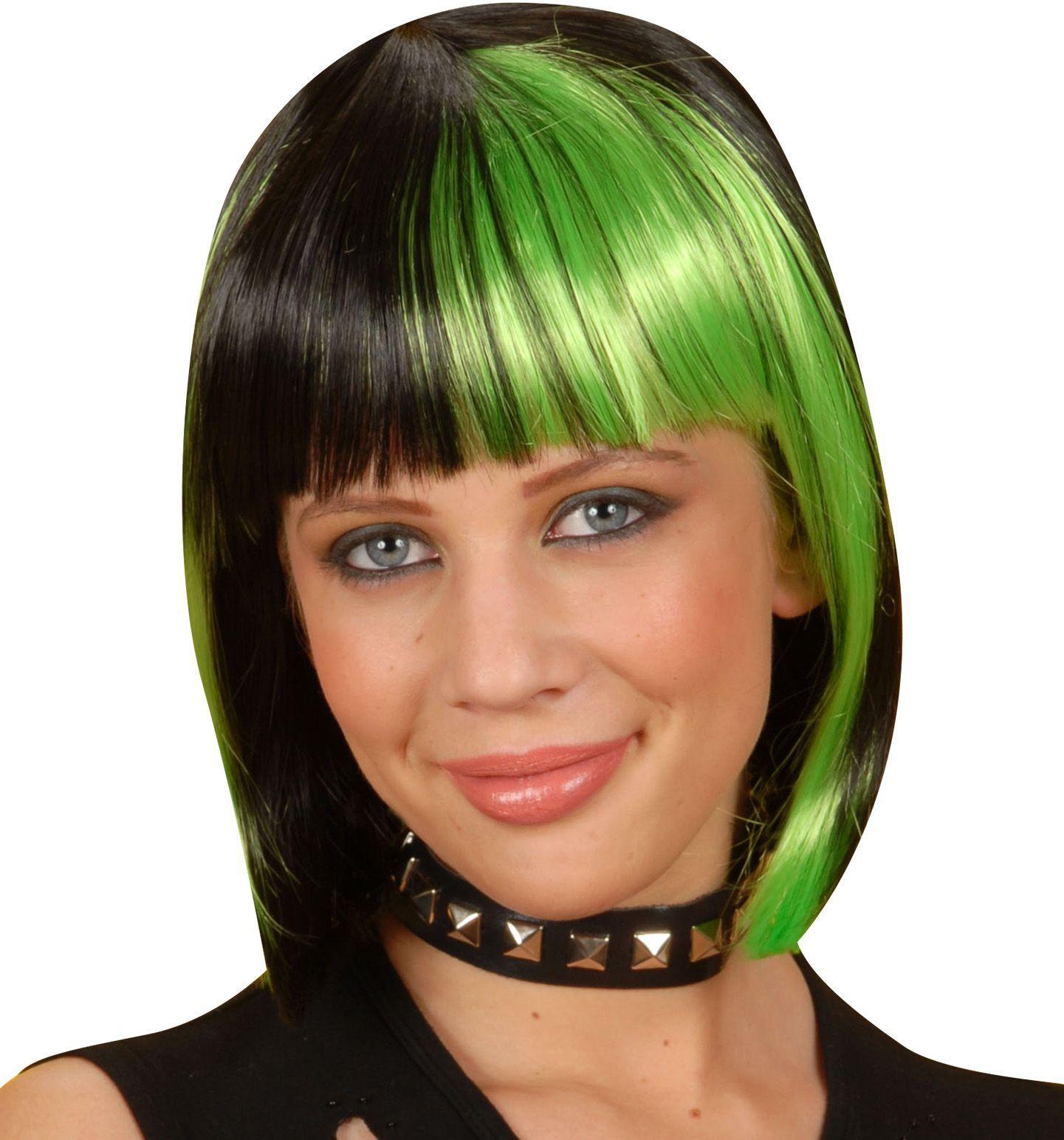 Korte zwart-groene pruik