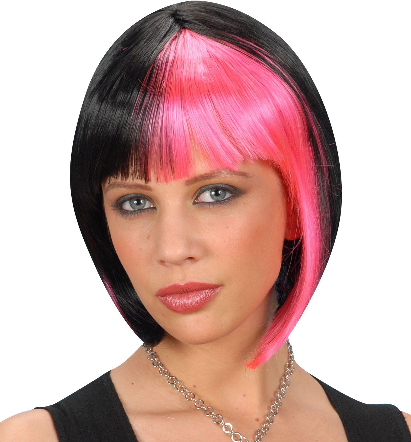 Korte zwart-roze pruik