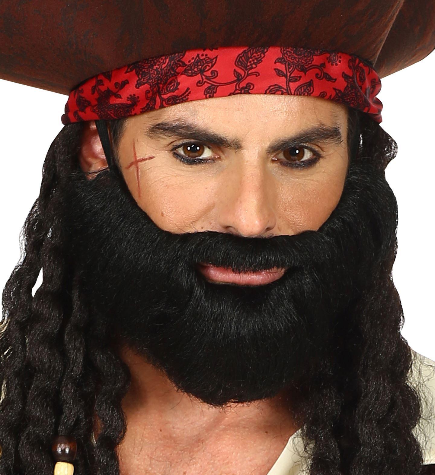Korte zwarte baard met snor