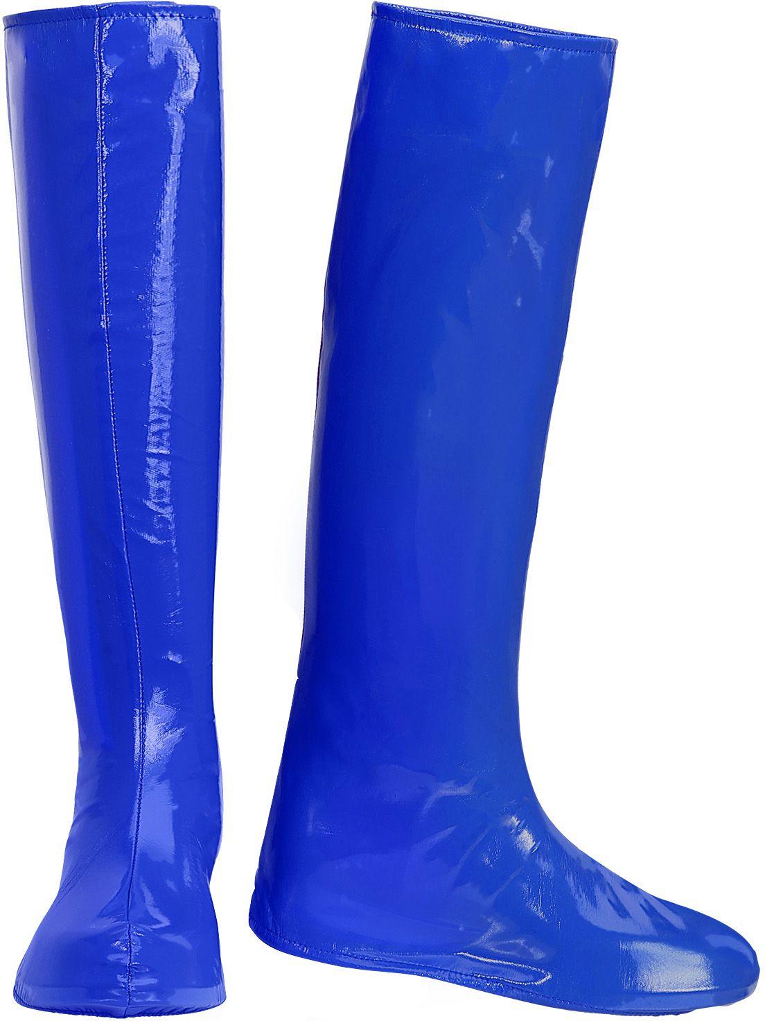 Lange blauwe laarzen 60s en 70s vrouwen