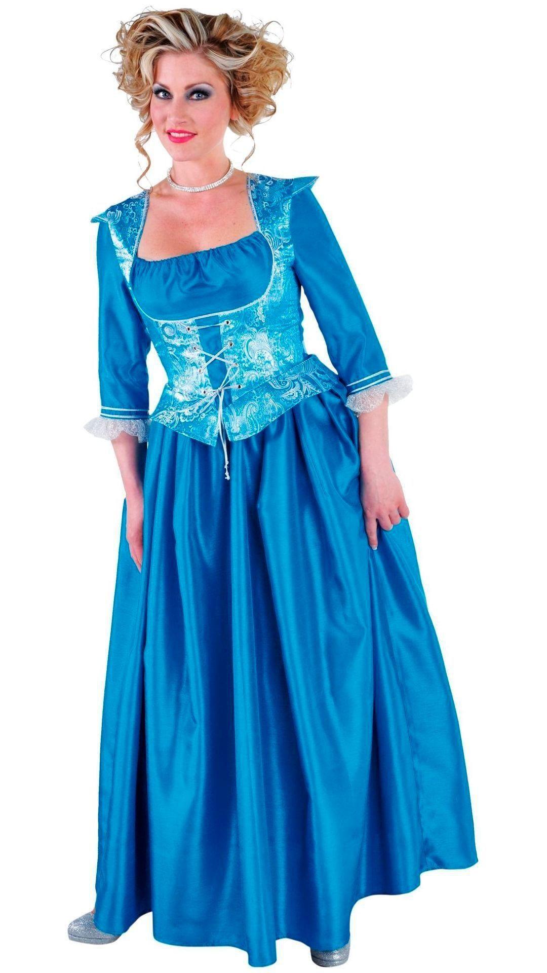 Lange blauwe markiezin jurk dames