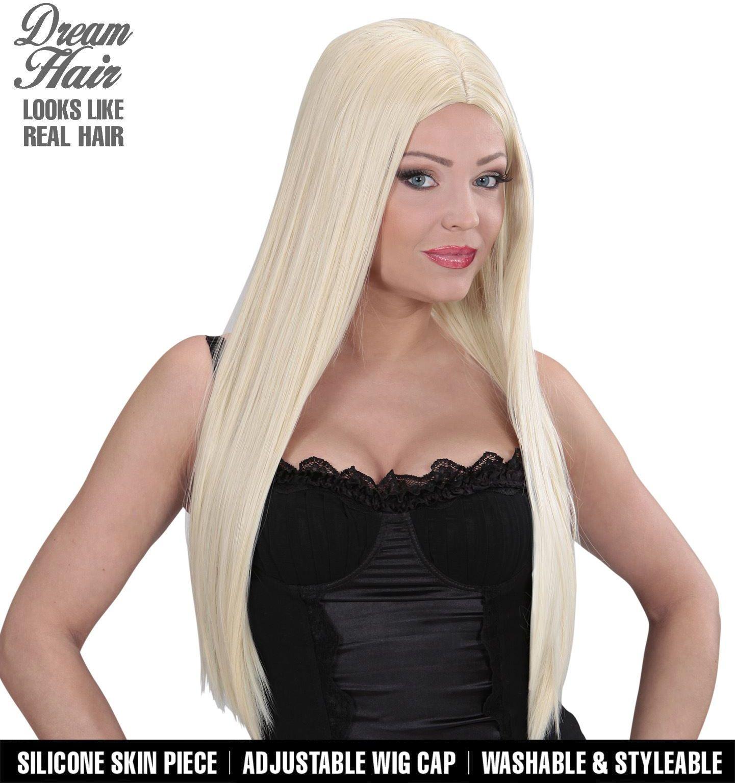Lange blonde scheiding pruik