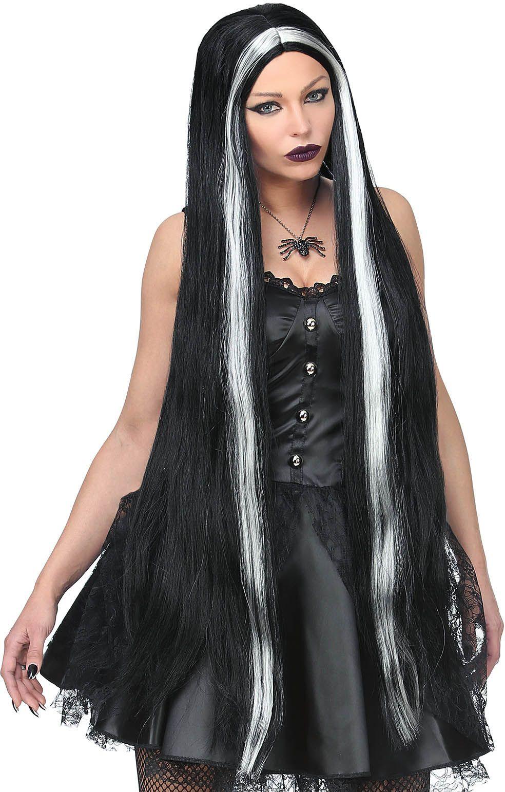 Lange heksen pruik zwart vrouwen