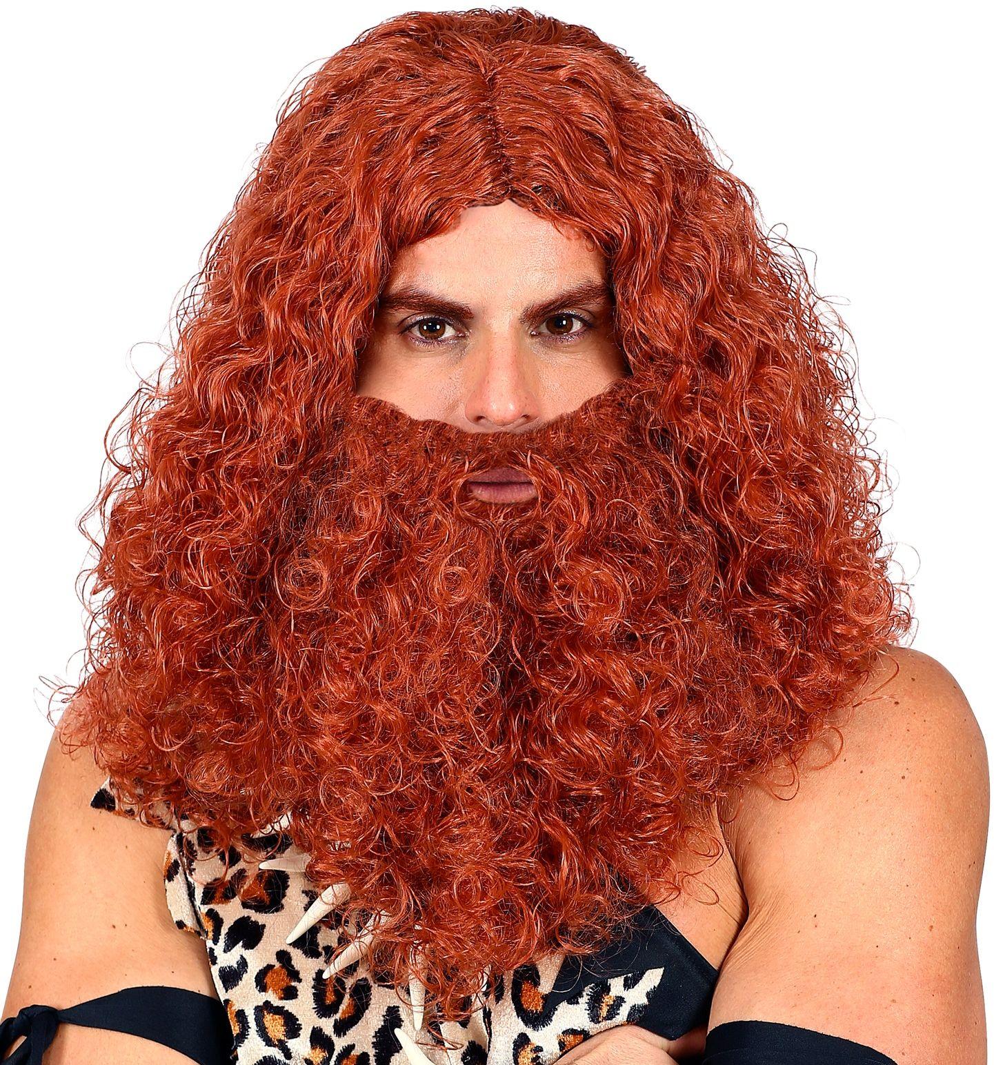 Lange holbewoner pruik met baard