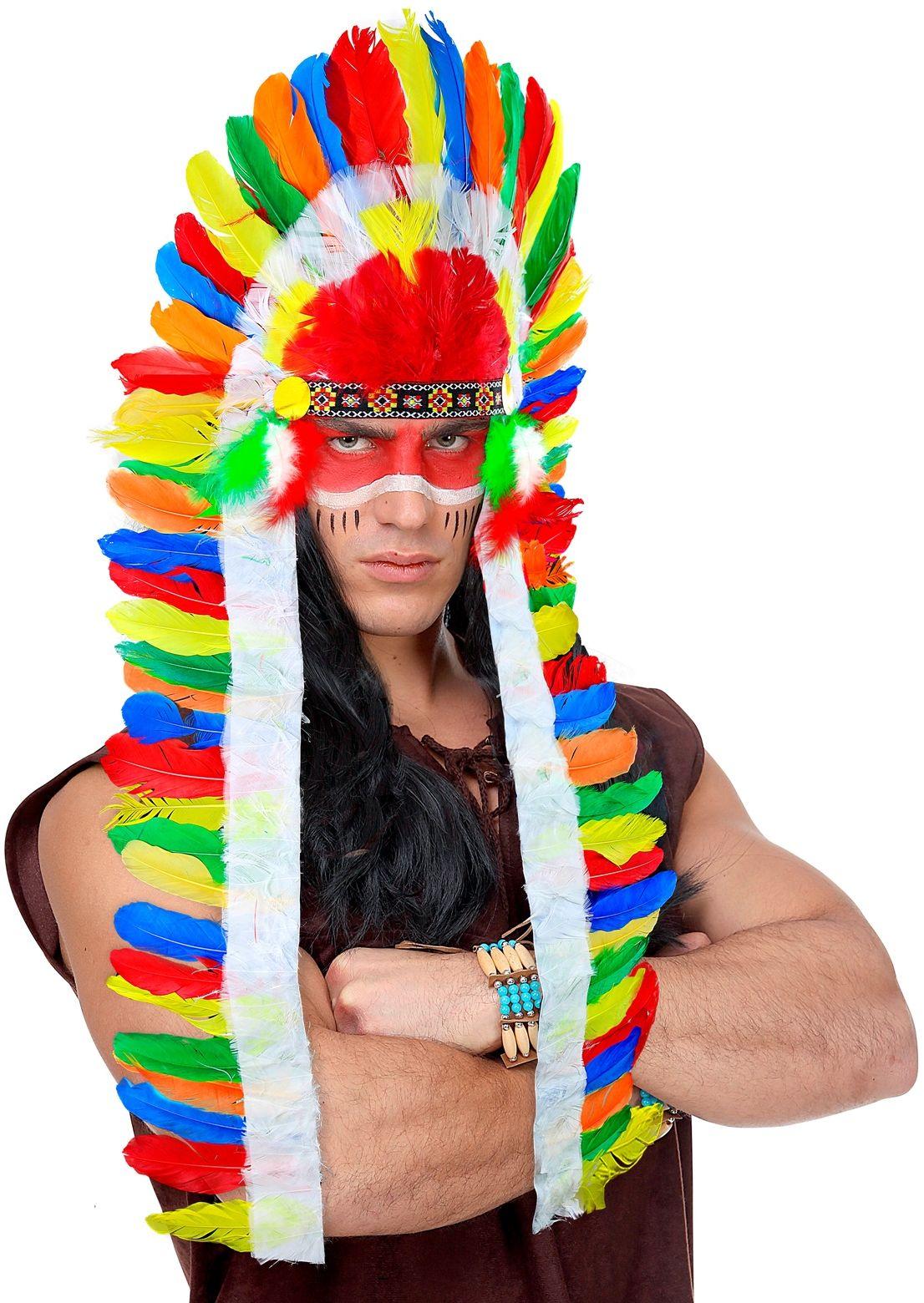 Lange meerkleurige indianen hoofdtooi