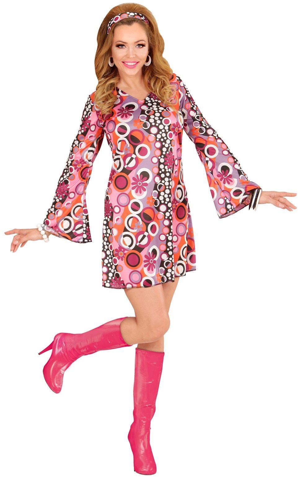 Lange roze laarzen 60s en 70s vrouwen