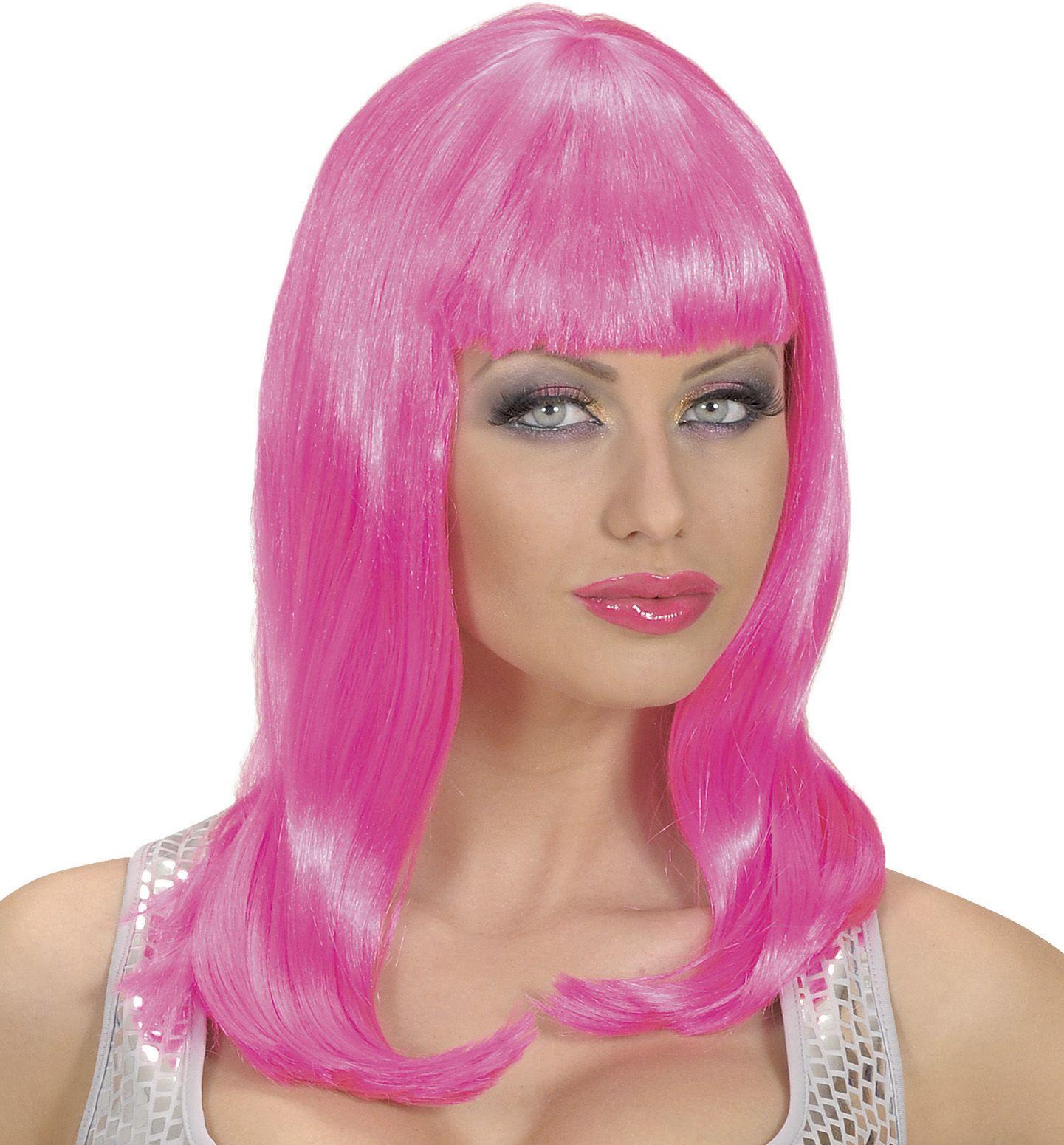 Lange roze pruik
