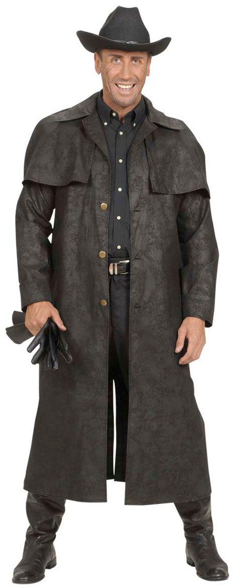 Lange zwarte cowboy jas