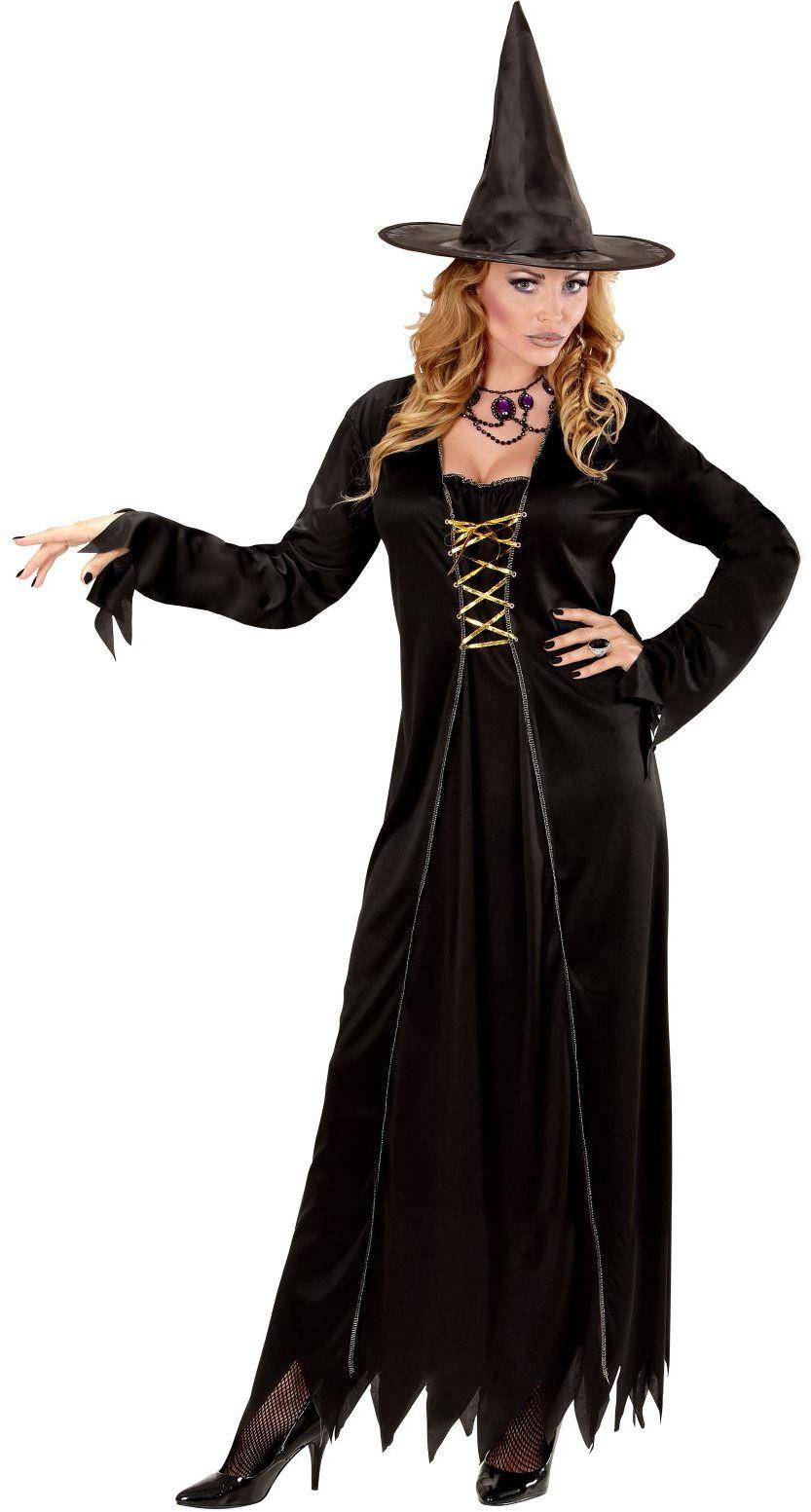 Lange zwarte heksen jurk